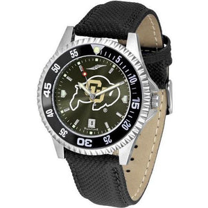 Colorado Buffaloes Mens Competitor Ano Poly/Leather Band Watch w/ Colored Bezel-Suntime-Top Notch Gift Shop