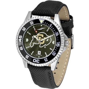 Colorado Buffaloes Mens Competitor Ano Poly/Leather Band Watch w/ Colored Bezel