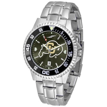Colorado Buffaloes Mens Competitor AnoChrome Steel Band Watch w/ Colored Bezel