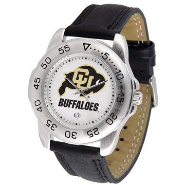 Colorado Buffaloes Mens Leather Band Sports Watch