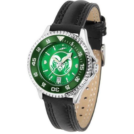 Colorado State Rams Ladies Competitor Ano Poly/Leather Band Watch w/ Colored Bezel-Suntime-Top Notch Gift Shop
