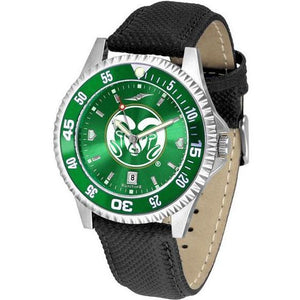 Colorado State Rams Mens Competitor Ano Poly/Leather Band Watch w/ Colored Bezel-Watch-Suntime-Top Notch Gift Shop