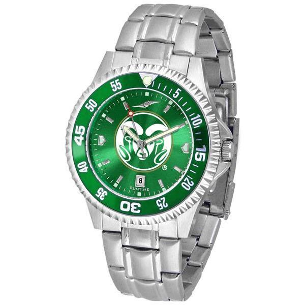 Colorado State Rams Mens Competitor AnoChrome Steel Band Watch w/ Colored Bezel-Watch-Suntime-Top Notch Gift Shop