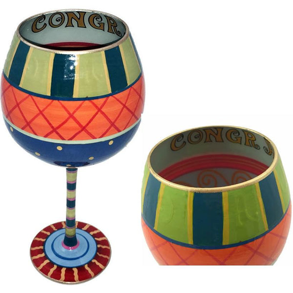 Congratulations Hand Painted Wine Glass-Wine Glass-Reverz-Art-Top Notch Gift Shop