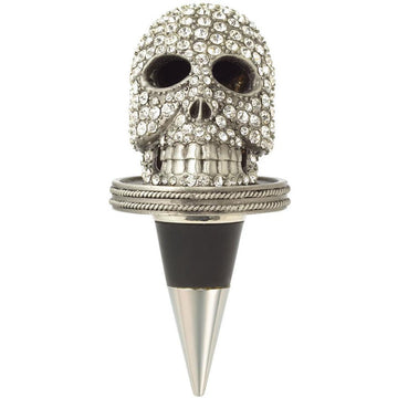 Crystal Encrusted Skull Bottle Stopper