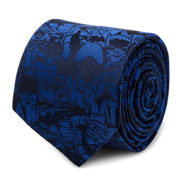 Blue Batman Comic Tie