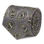Batman Gray and Yellow Paisley Tie-Necktie-Cufflinks, Inc.-Top Notch Gift Shop