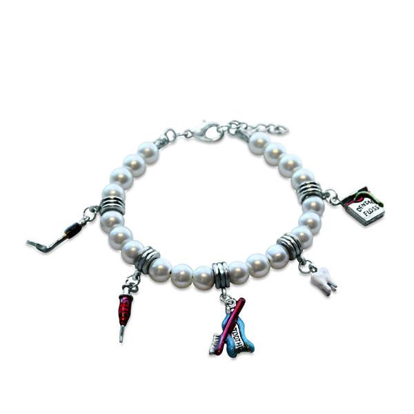 Dental Assistant Charm Bracelet in Silver-Whimsical GiftsTop Notch Gift Shop