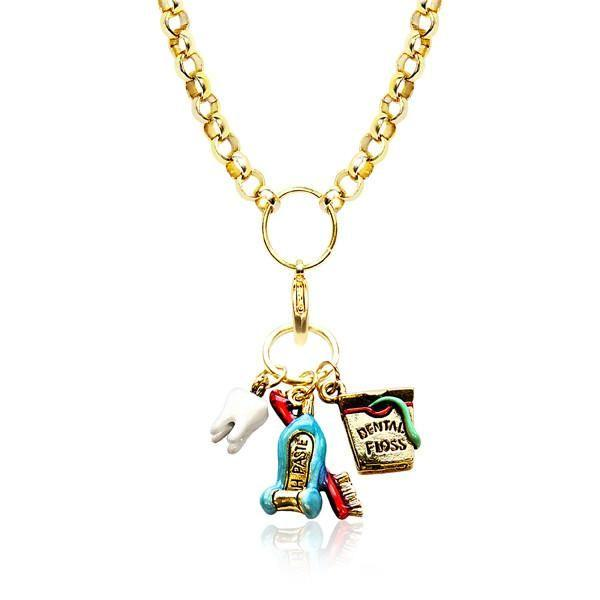Dental Assistant Charm Necklace in Gold-Necklace-Whimsical Gifts-Top Notch Gift Shop
