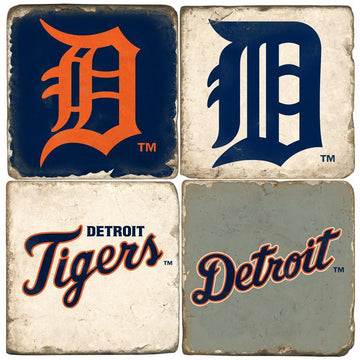 Detroit Tigers Italian Marble Coasters with Wrought Iron Holder (set of 4)