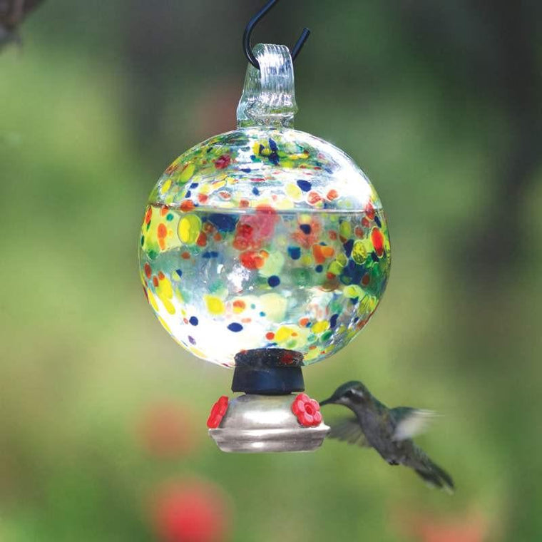 Dew-Drop Carnival Glass Hummingbird Feeder-Parasol Gardens-Top Notch Gift Shop