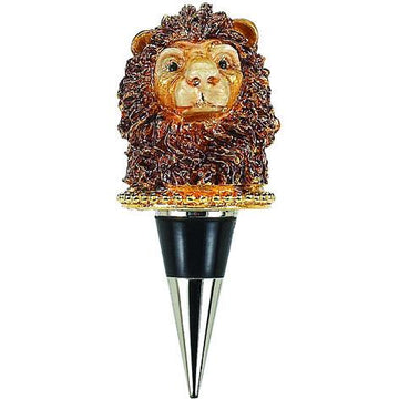 Enameled Lion  Wine  Bottle Stopper with Crystals