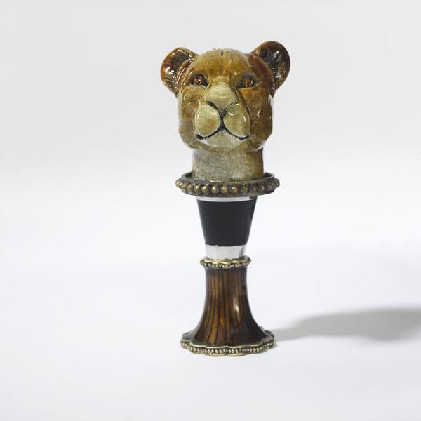 Enameled Lioness Wine Bottle Stopper with Crystals-Bottle Stopper-Olivia Riegel-Top Notch Gift Shop