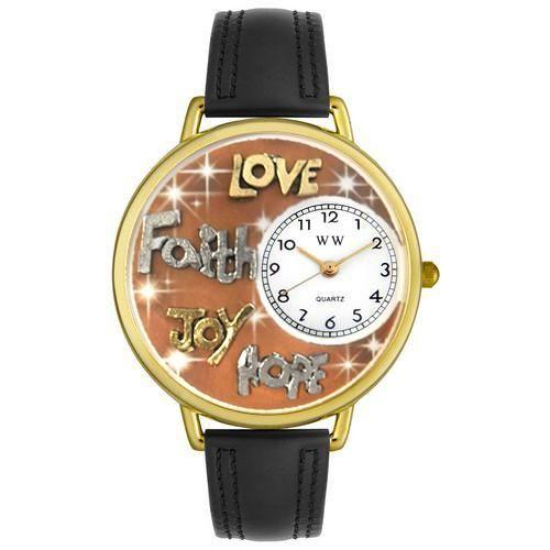 Faith Hope Love Joy Silver in Gold (Large)-Watch-Whimsical Gifts-Top Notch Gift Shop