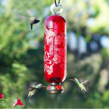 Filigree Glass  Hummingbird Feeder - Flame Red
