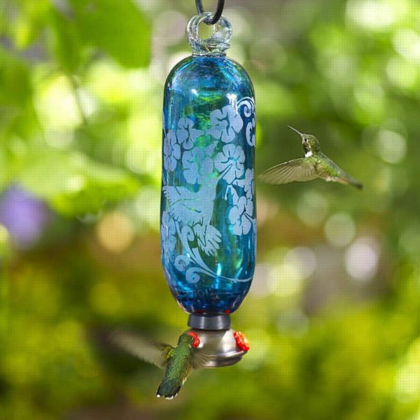 Filigree Hummingbird Feeder - Aqua-Bird Feeder-Parasol Gardens-Top Notch Gift Shop