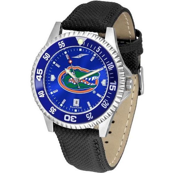 Florida Gators Mens Competitor Ano Poly/Leather Band Watch w/ Colored Bezel-Watch-Suntime-Top Notch Gift Shop
