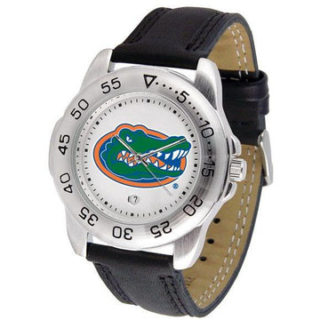 Florida Gators Mens Leather Band Sports Watch