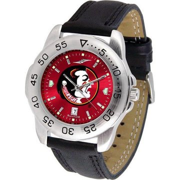 Florida State Seminoles Mens AnoChrome Leather Band Sports Watch
