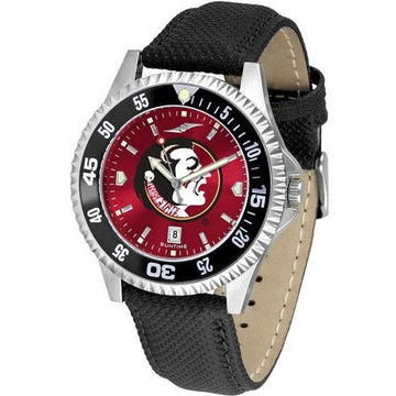 Florida State Seminoles Mens Competitor Ano Poly/Leather Band Watch w/ Colored Bezel