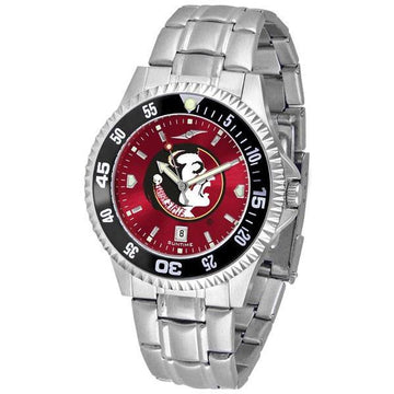 Florida State Seminoles Mens Competitor AnoChrome Steel Band Watch w/ Colored Bezel