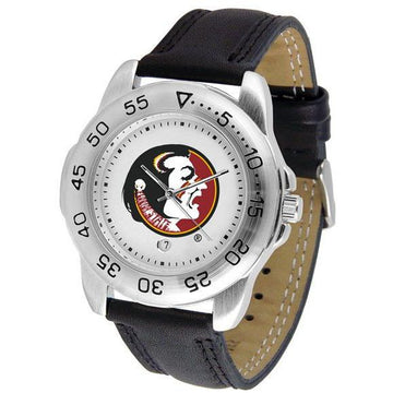 Florida State Seminoles Mens Leather Band Sports Watch