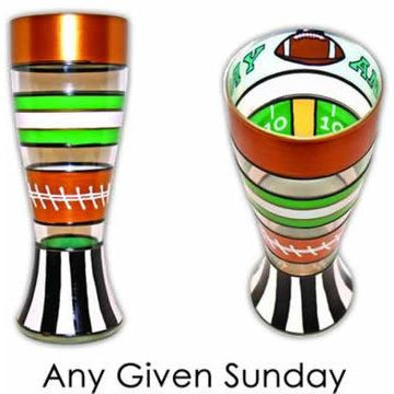 Football Hand Painted Pilsner Glass