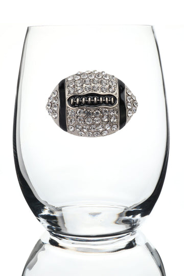 Football Jeweled Stemless Wine Glass