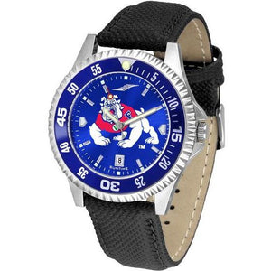 Fresno State Bulldogs Mens Competitor Ano Poly/Leather Band Watch w/ Colored Bezel-Suntime-Top Notch Gift Shop