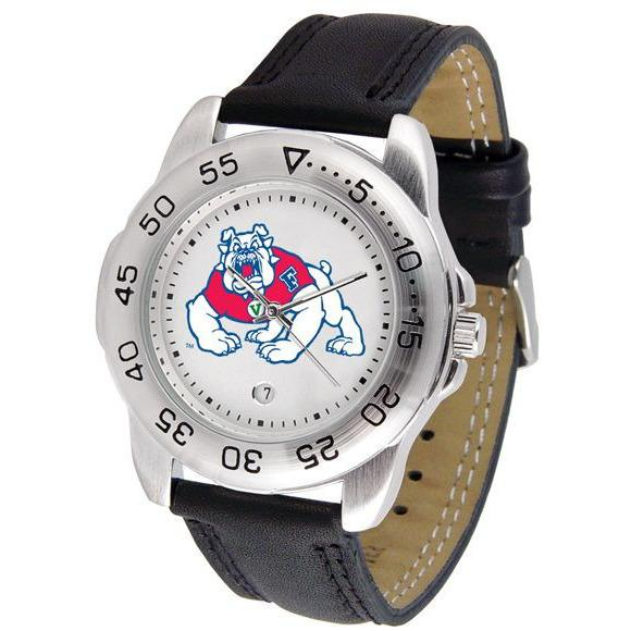 Fresno State Bulldogs Mens Leather Band Sports Watch-Suntime-Top Notch Gift Shop