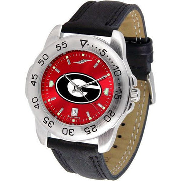 Georgia Bulldogs Mens AnoChrome Leather Band Sports Watch