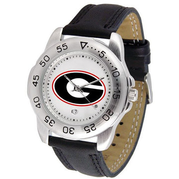 Georgia Bulldogs Mens Leather Band Sports Watch