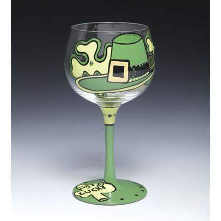 Get Lucky St. Patrick's Day Shamrock Wine Glass-Wine Glass-Alice Art-Top Notch Gift Shop