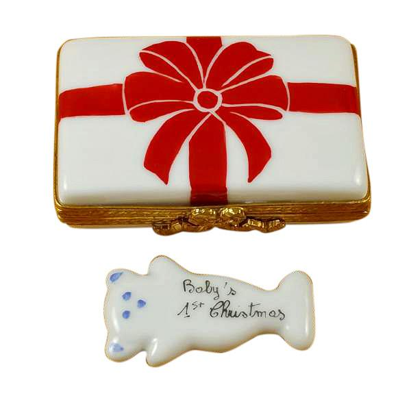 Gift Box With Red Bow - Baby'S 1St Christmas - Blue Limoges Box by Rochard™-Rochard-Top Notch Gift Shop