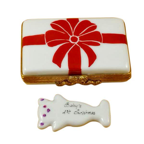 Gift Box With Red Bow - Baby'S 1St Christmas - Pink Limoges Box by Rochard™-Rochard-Top Notch Gift Shop