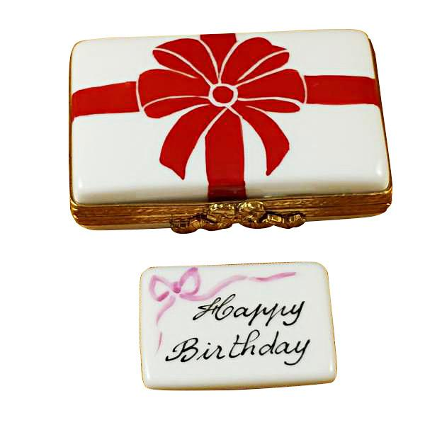 Gift Box With Red Bow - Happy Birthday Limoges Box by Rochard™-Rochard-Top Notch Gift Shop