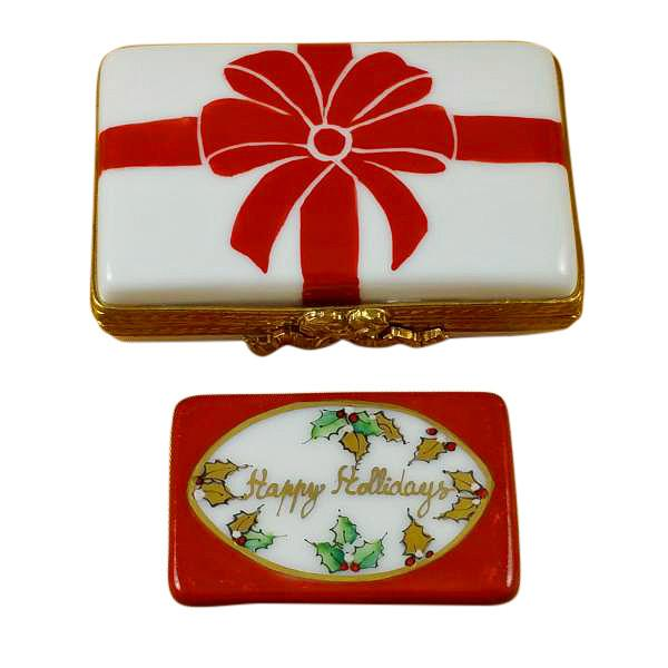 Gift Box With Red Bow - Happy Holidays Limoges Box by Rochard™-Limoges Box-Rochard-Top Notch Gift Shop