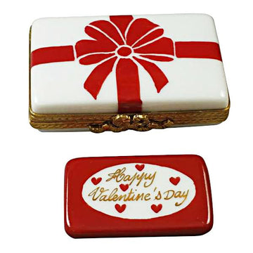 Gift Box With Red Bow - Happy Valentine's Day Limoges Box by Rochard™