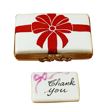 Gift Box With Red Bow - Thank You Limoges Box by Rochard™