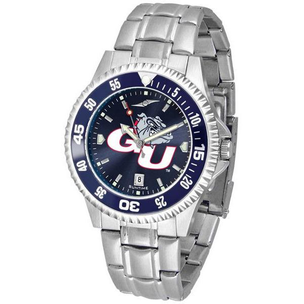 Gonzaga Bulldogs Mens Competitor AnoChrome Steel Band Watch w/ Colored Bezel-Suntime-Top Notch Gift Shop