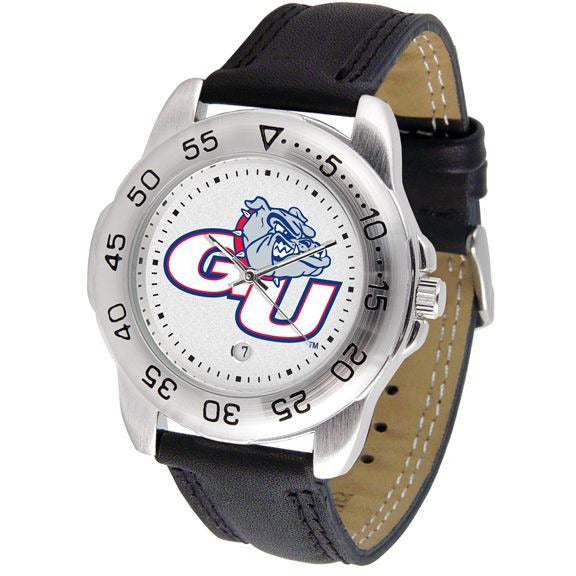 Gonzaga Bulldogs Mens Leather Band Sports Watch-Suntime-Top Notch Gift Shop