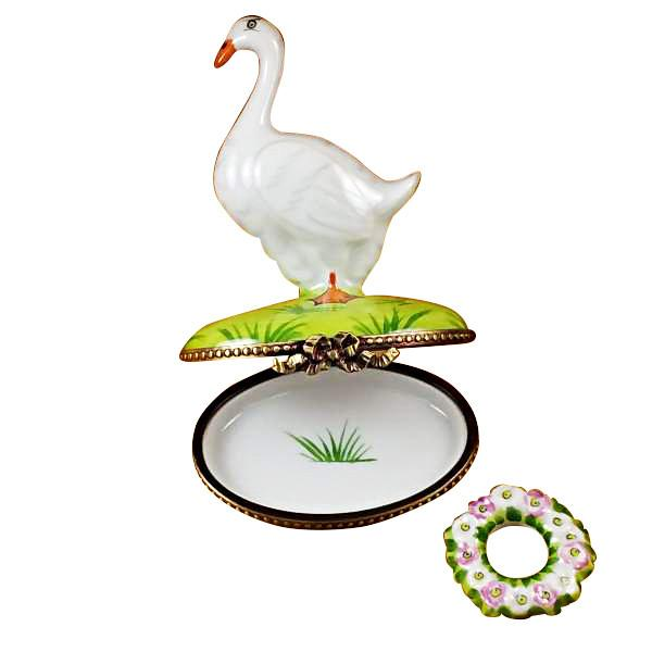 Goose With Spring & Christmas Wreaths Limoges Box by Rochard™-Limoges Box-Rochard-Top Notch Gift Shop