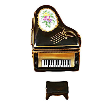Grand Piano Floral With Porcelain Bench Limoges Box by Rochard™