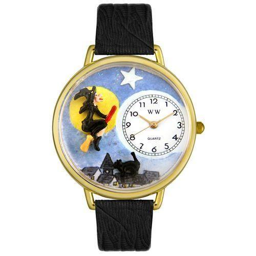 Halloween Flying Witch Watch in Gold (Large)-Watch-Whimsical Gifts-Top Notch Gift Shop