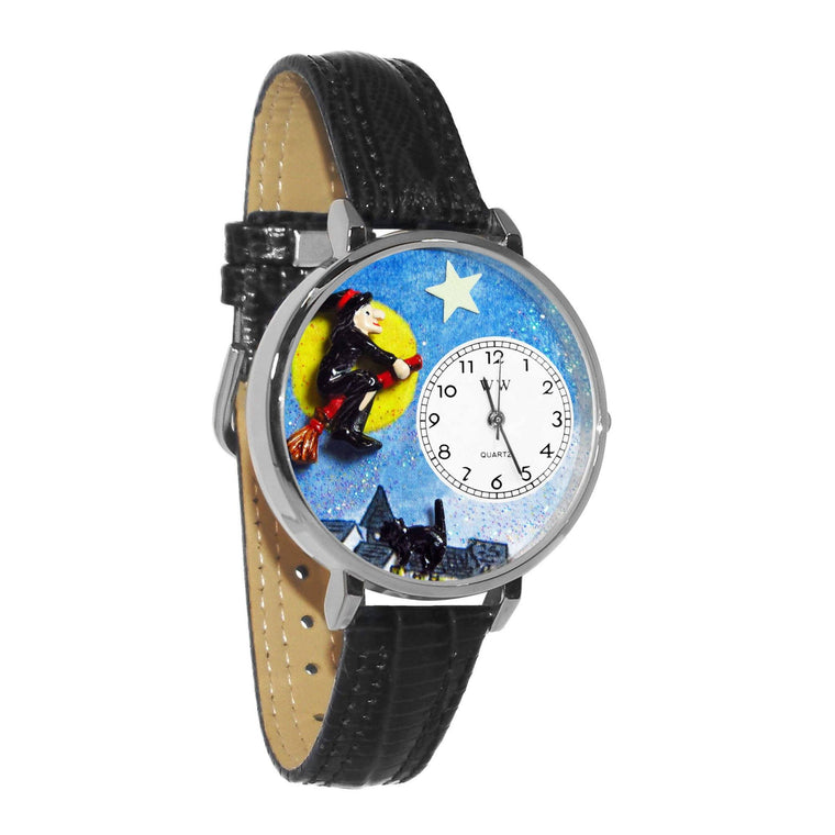 Halloween Flying Witch Watch in Silver (Large)-Whimsical GiftsTop Notch Gift Shop