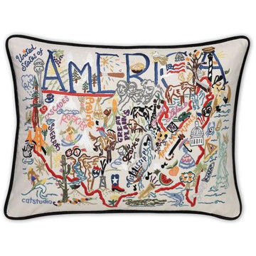 America Embroidered Catstudio Pillow