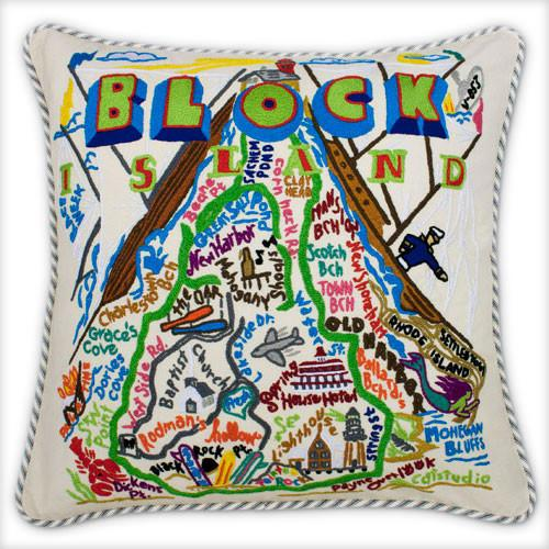 Block Island Hand Embroidered Catstudio Pillow-Pillow-CatStudio-Top Notch Gift Shop