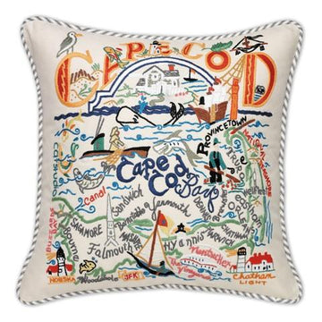 Cape Cod Embroidered Catstudio  Pillow