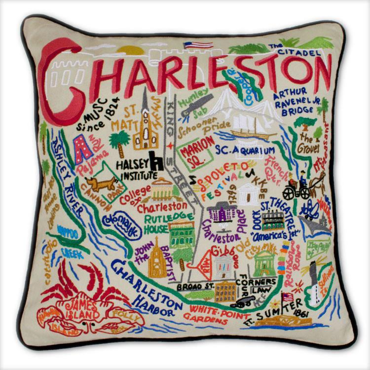 Charleston Embroidered Catstudio Pillow-Pillow-CatStudio-Top Notch Gift Shop