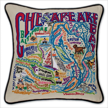 Chesapeake Bay Embroidered Catstudio Pillow